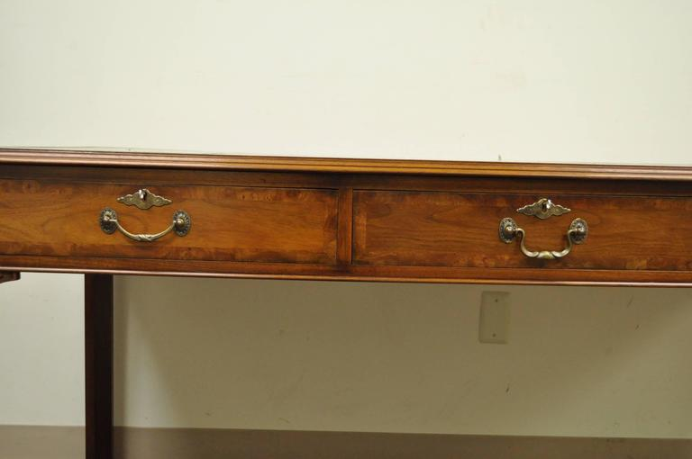 20th Century Custom English Leather Chippendale Style Six-Drawer Partners Desk 7