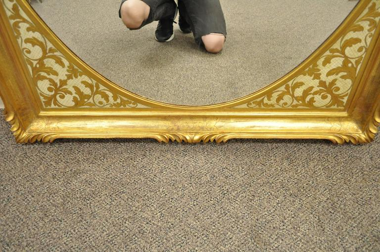 Beveled Large Vintage 1960s Italian Florentine Gold Gilt Carved Wood Wall Sofa Mirror For Sale