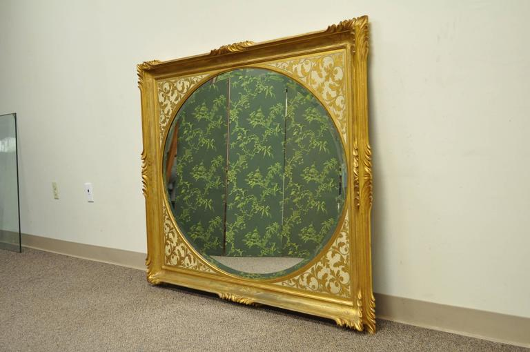 Large Vintage 1960s Italian Florentine Gold Gilt Carved Wood Wall Sofa Mirror In Excellent Condition For Sale In Philadelphia, PA