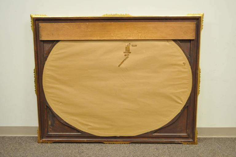 Large Vintage 1960s Italian Florentine Gold Gilt Carved Wood Wall Sofa Mirror For Sale 2
