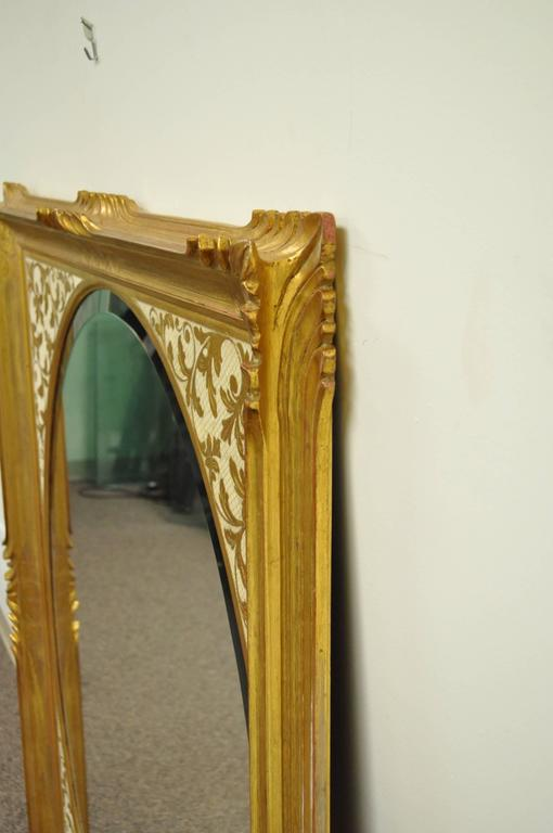 Louis XV Large Vintage 1960s Italian Florentine Gold Gilt Carved Wood Wall Sofa Mirror For Sale