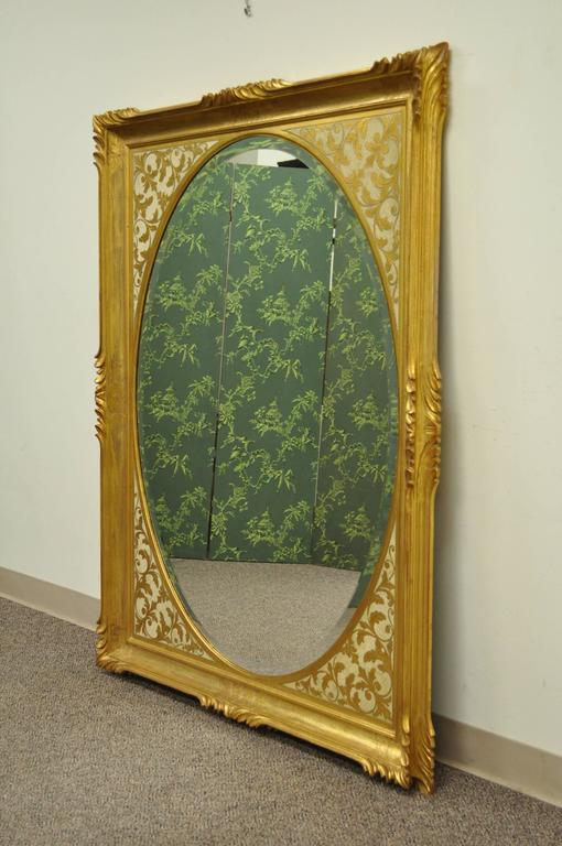 Large Vintage 1960s Italian Florentine Gold Gilt Carved Wood Wall Sofa Mirror For Sale 4