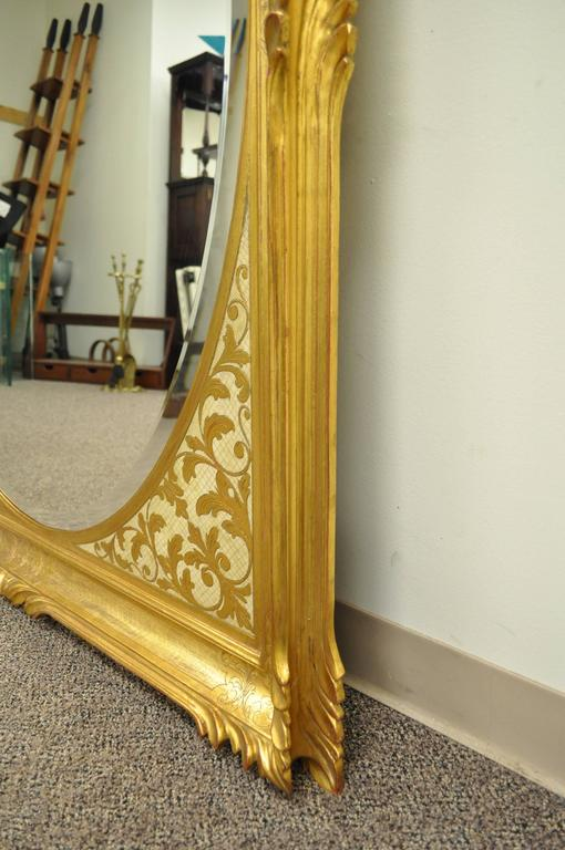 20th Century Large Vintage 1960s Italian Florentine Gold Gilt Carved Wood Wall Sofa Mirror For Sale