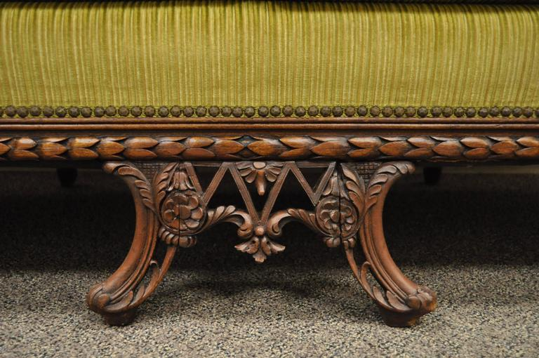 1930s Mahogany Chinese Chippendale Transitional Swan and Serpent Carved Sofa For Sale 1