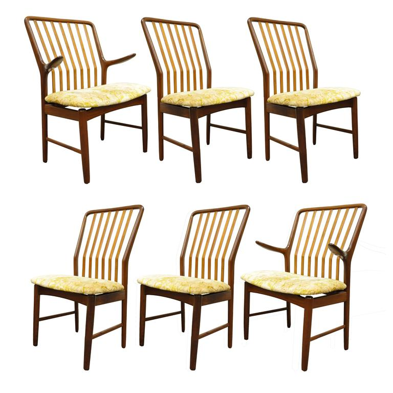 Set of Six Teak Danish Modern Dining Chairs by Svend A. Madsen for Moreddi 2