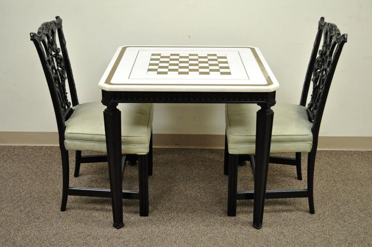 1940s Chippendale Or George III Style Marble Top Game Table Set With Two  Chairs For