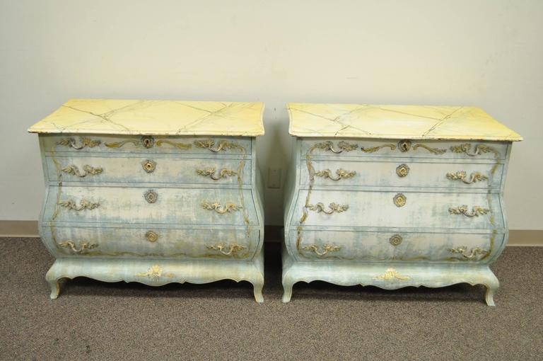 Pair of Custom Distress Painted French Louis XV Style Bombe Form Commodes 2