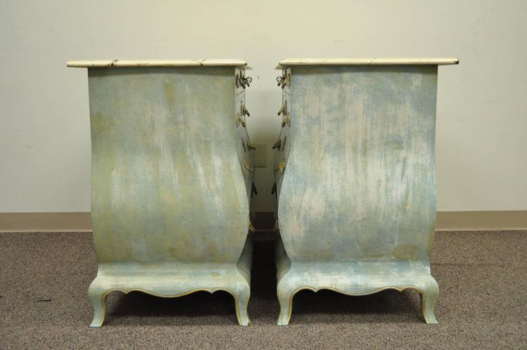 Pair of Custom Distress Painted French Louis XV Style Bombe Form Commodes 7