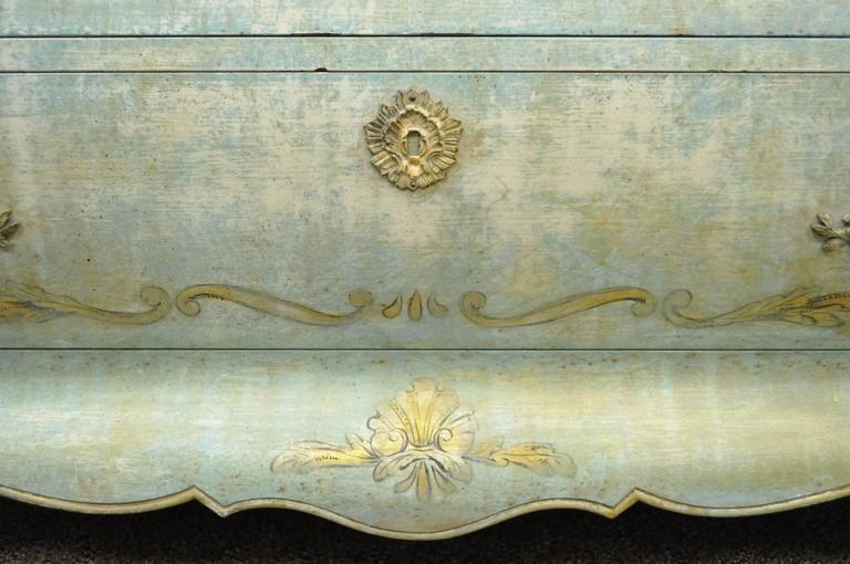 Pair of Custom Distress Painted French Louis XV Style Bombe Form Commodes 6