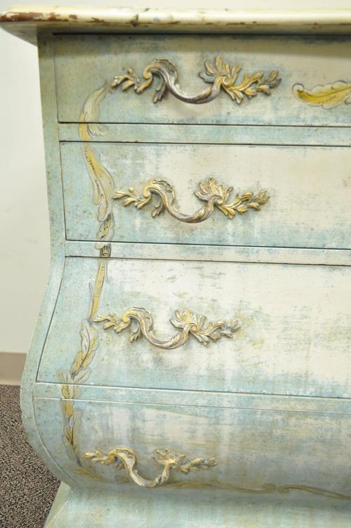 Pair of Custom Distress Painted French Louis XV Style Bombe Form Commodes 5