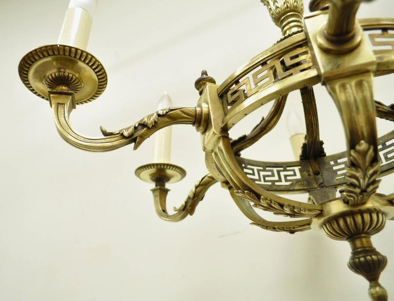 Early 20th Century French Neoclassical Style Bronze Greek Key Chandelier For Sale 3