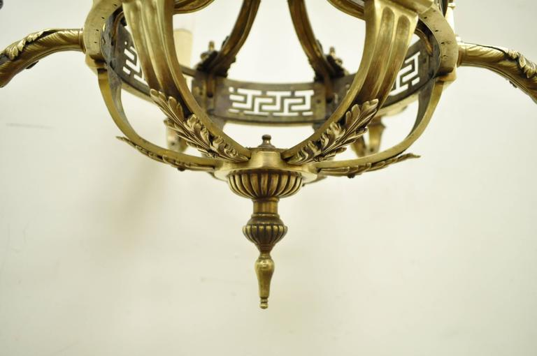 Early 20th Century French Neoclassical Style Bronze Greek Key Chandelier For Sale 2