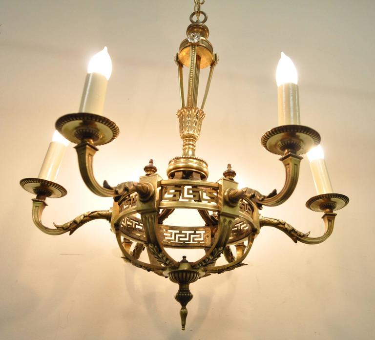 Early 20th Century French Neoclassical Style Bronze Greek Key Chandelier For Sale 6