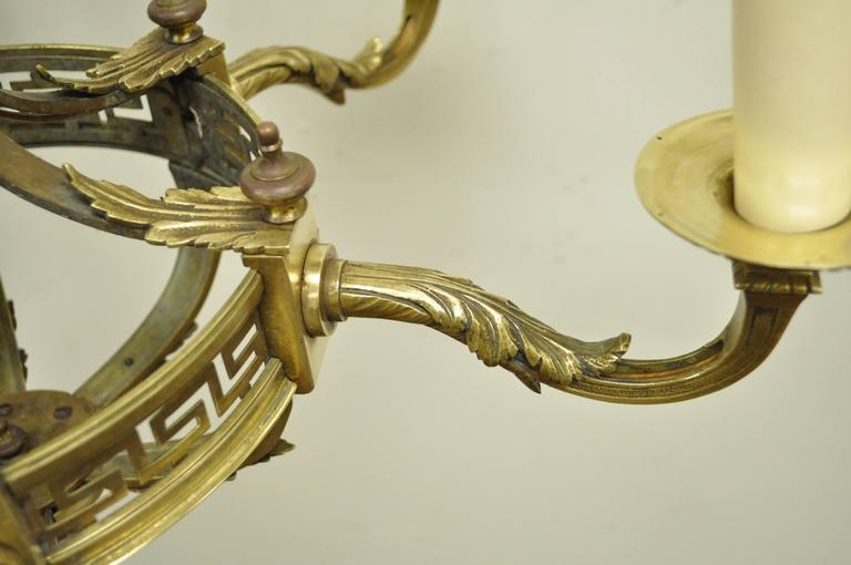 Early 20th Century French Neoclassical Style Bronze Greek Key Chandelier For Sale 4
