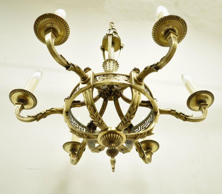 Early 20th Century French Neoclassical Style Bronze Greek Key Chandelier For Sale 5