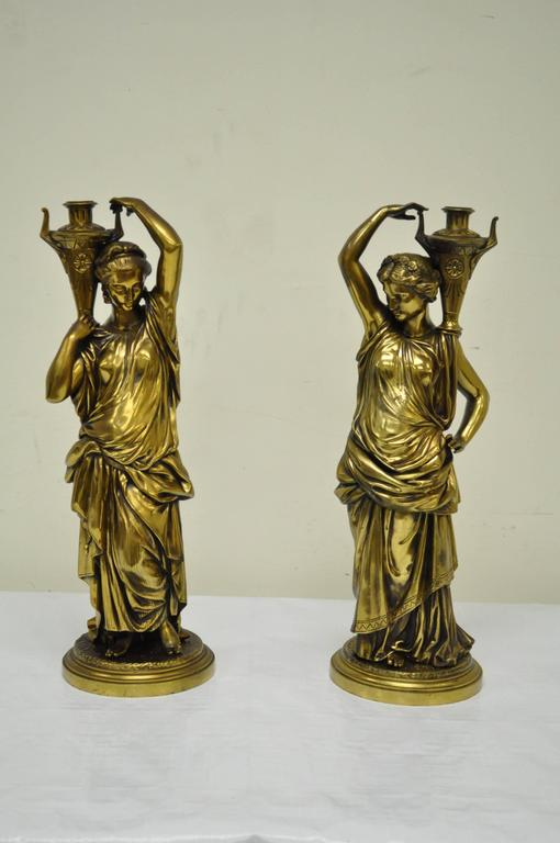 Pair of 19th Century French Classical Finely Cast Bronze Maiden Statues For Sale 6