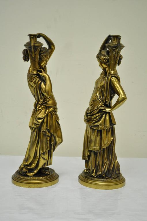 Classical Greek Pair of 19th Century French Classical Finely Cast Bronze Maiden Statues For Sale