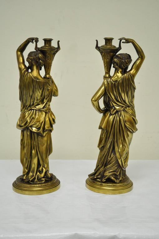 Pair of 19th Century French Classical Finely Cast Bronze Maiden Statues In Good Condition For Sale In Philadelphia, PA