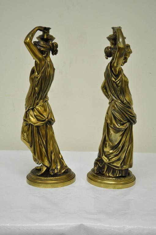 Pair of 19th Century French Classical Finely Cast Bronze Maiden Statues For Sale 4