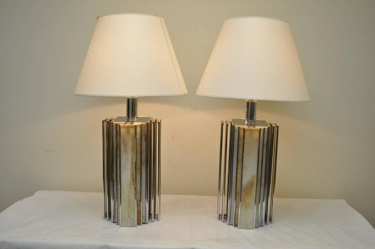 Art Deco Style Pair Of Vintage Chrome And Slag Gl Table Lamps The Have A Sleek Modern