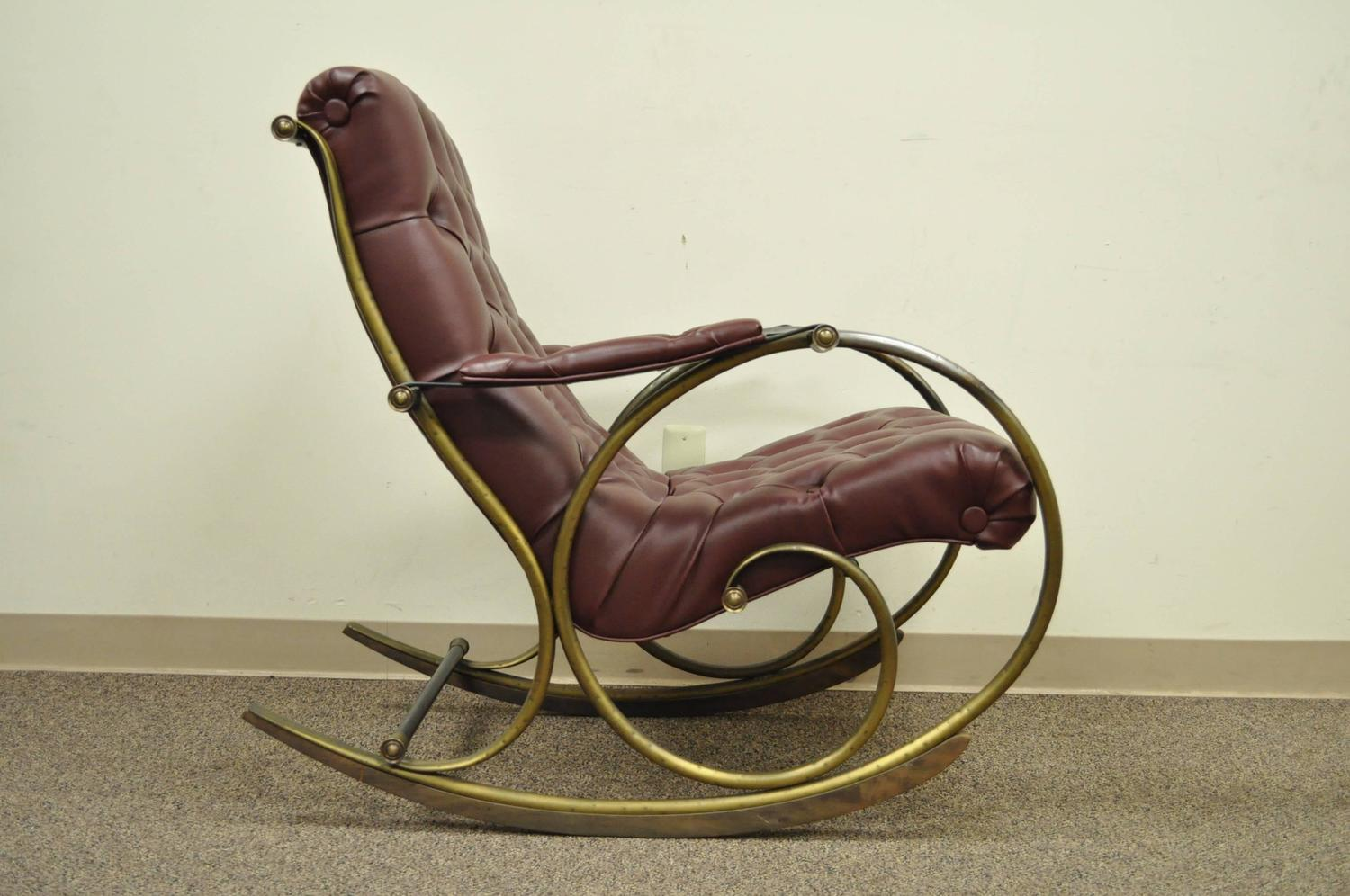 And wood rocking chair by woodard leather brass and wood rocker by - Mid Century Lee Woodard Tubular Brass Rocking Chair Or