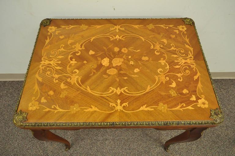 A Beautiful French Louis XV Style Marquetry Inlaid Flip Top Game Table. The  Table Has