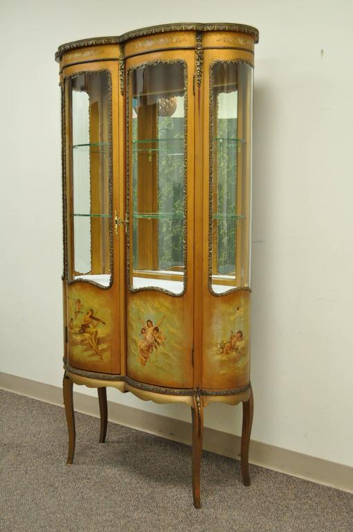 Stunning Antique Louis XV Style Vernis Martin Display Cabinet. The French  Cabinet Features Four Curved