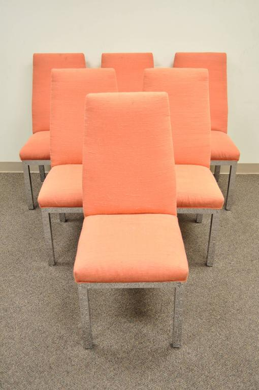 A great set of 6 vintage modernist dining chairs with chrome parsons style bases, slightly tapered backs, and seamless joints attributed to Milo Baughman for Design Institute if America.