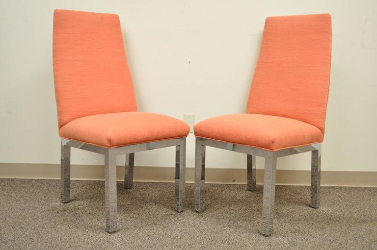 Mid-Century Modern Set of 6 Chrome Parsons Style Dining Side Chairs Attributed to Milo Baughman For Sale