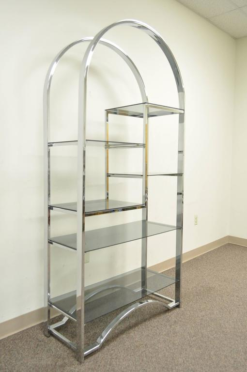 Mid Century Modern Chrome & Smoked Glass Arched Etagere after Milo Baughman For Sale 1