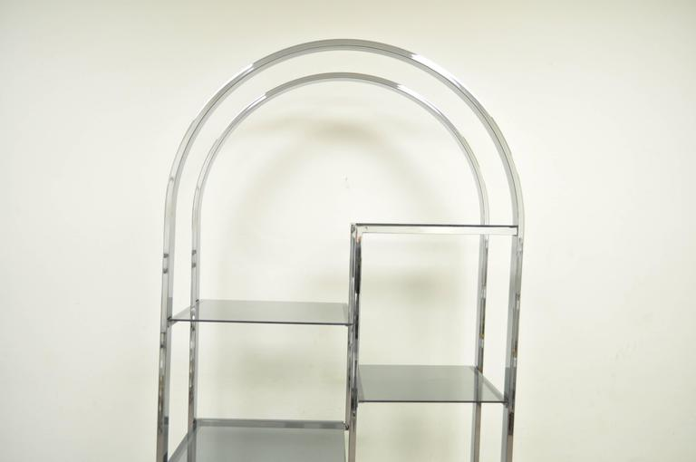 Mid-Century Modern Mid Century Modern Chrome & Smoked Glass Arched Etagere after Milo Baughman For Sale