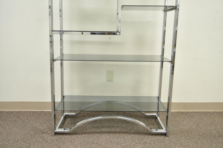 20th Century Mid Century Modern Chrome & Smoked Glass Arched Etagere after Milo Baughman For Sale