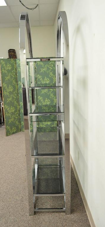 Mid Century Modern Chrome & Smoked Glass Arched Etagere after Milo Baughman In Good Condition For Sale In Philadelphia, PA