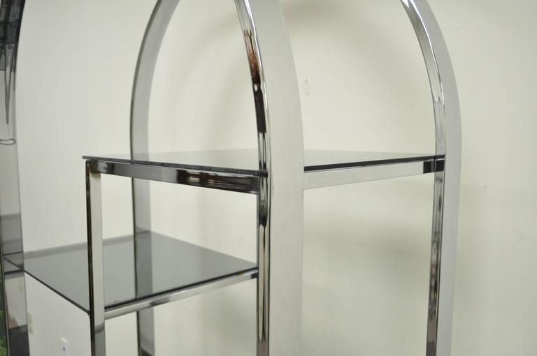 American Mid Century Modern Chrome & Smoked Glass Arched Etagere after Milo Baughman For Sale