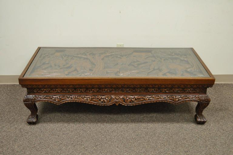 20th Century Vietnamese Hand-Carved Asian Coffee Low Table with Elephant Scene For Sale 5