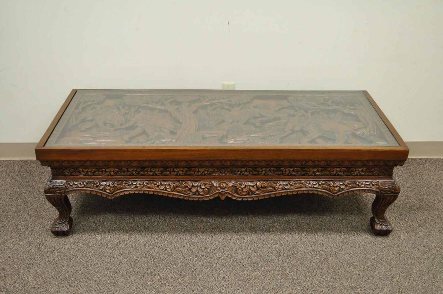 Hand Carved Coffee Tables ~ Th century vietnamese hand carved asian coffee low table
