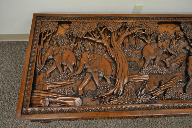 Mahogany 20th Century Vietnamese Hand-Carved Asian Coffee Low Table with Elephant Scene For Sale