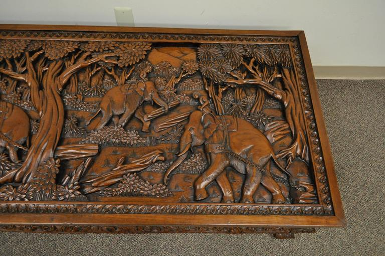 20th Century Vietnamese Hand-Carved Asian Coffee Low Table with Elephant Scene In Good Condition For Sale In Philadelphia, PA