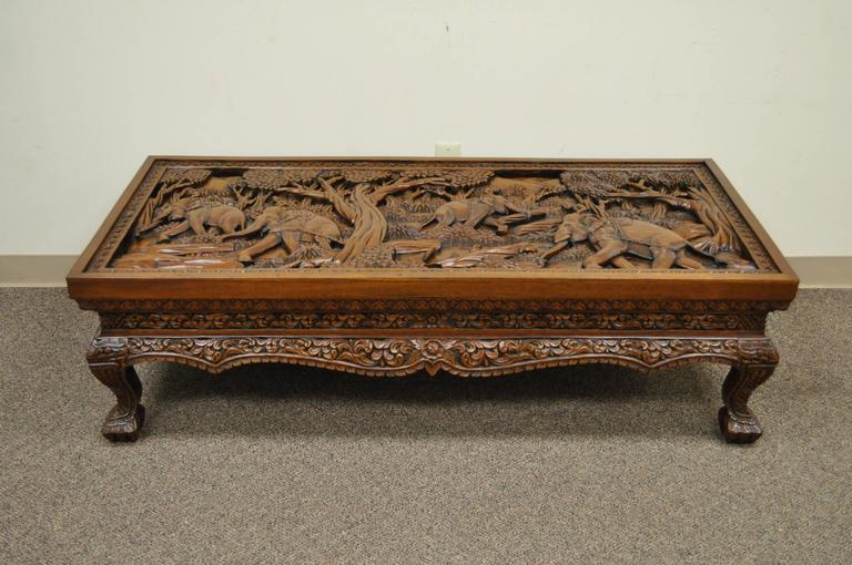 20th Century Vietnamese Hand-Carved Asian Coffee Low Table with Elephant Scene For Sale 4