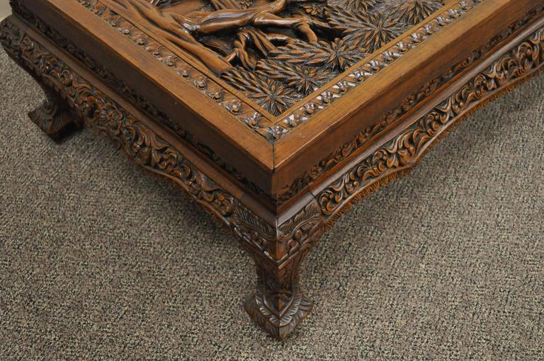 20th Century Vietnamese Hand-Carved Asian Coffee Low Table with Elephant Scene For Sale 3