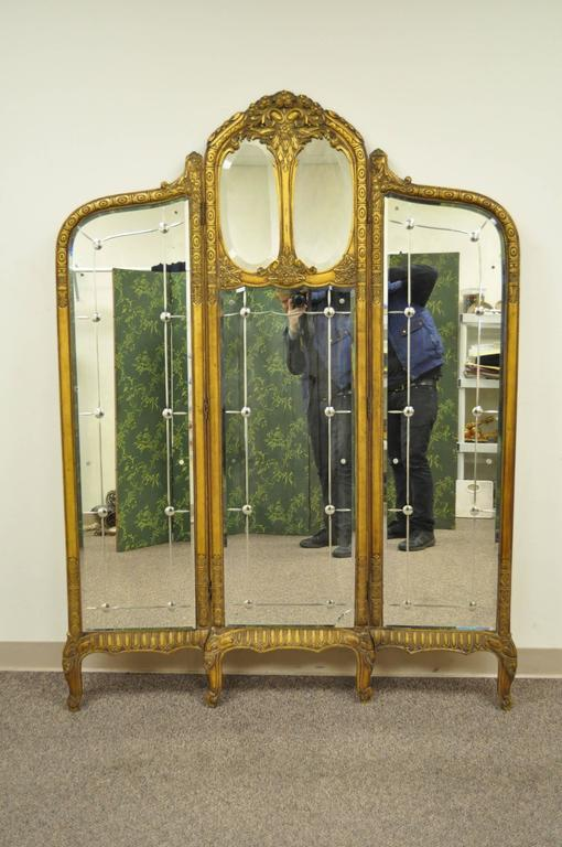 French Louis XV Style Three Section Gold Gilt Wood Mirror Screen or Room Divider For Sale 4