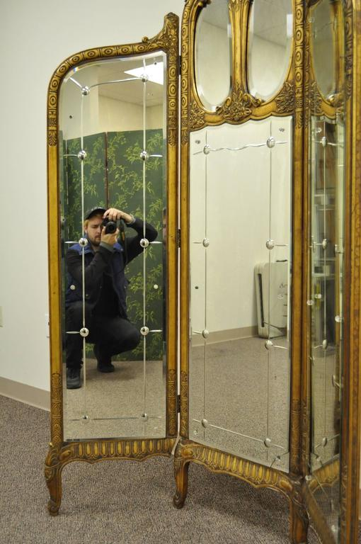 20th Century French Louis XV Style Three Section Gold Gilt Wood Mirror Screen or Room Divider For Sale