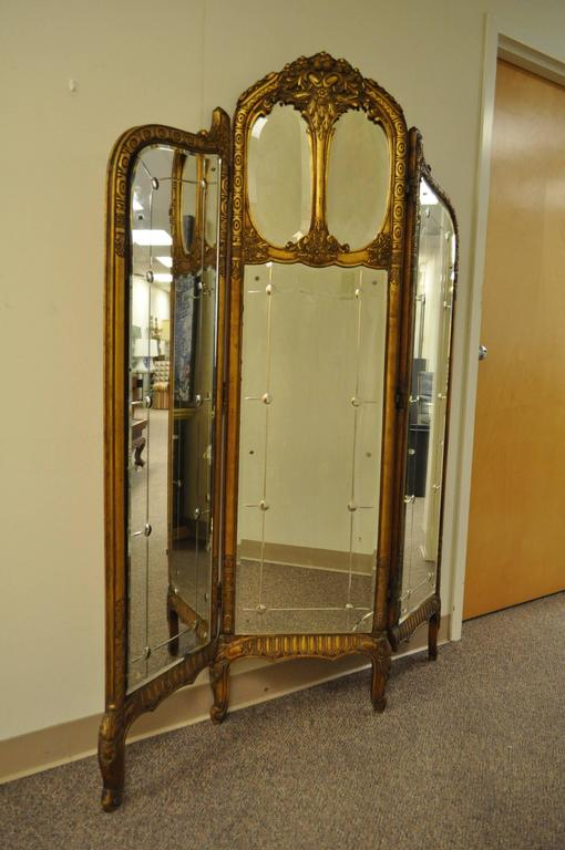 French Louis XV Style Three Section Gold Gilt Wood Mirror Screen or Room Divider 7