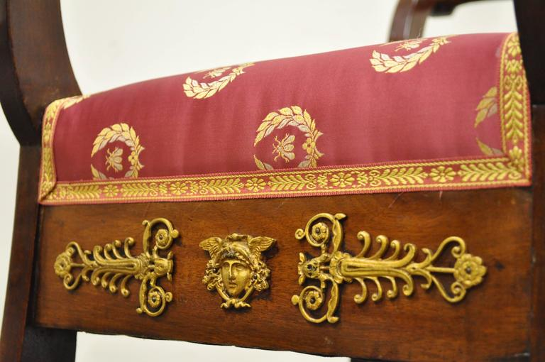 European 19th Century French Neoclassical Mahogany Curule Bench with Bronze Ormolu For Sale