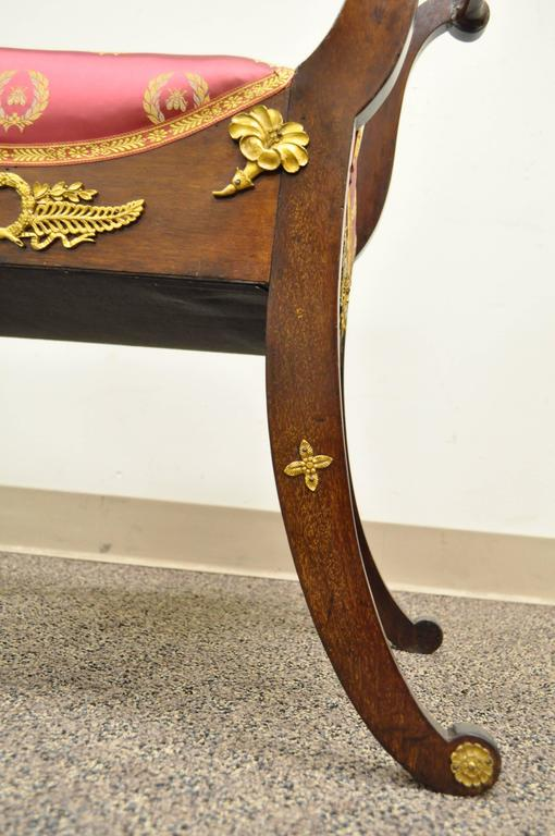 19th Century French Neoclassical Mahogany Curule Bench with Bronze Ormolu For Sale 1