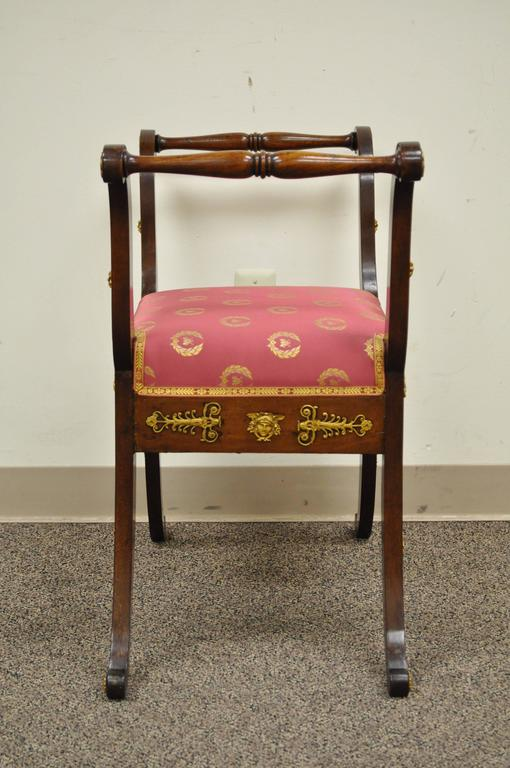 19th Century French Neoclassical Mahogany Curule Bench with Bronze Ormolu For Sale 6