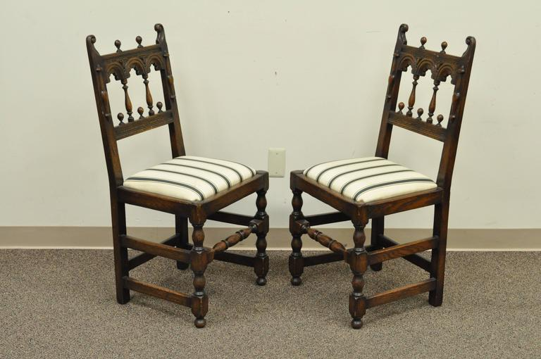 Quality Set Of Eight Vintage Solid Carved Oak Jacobean Or Gothic Style Dining Chairs Circa