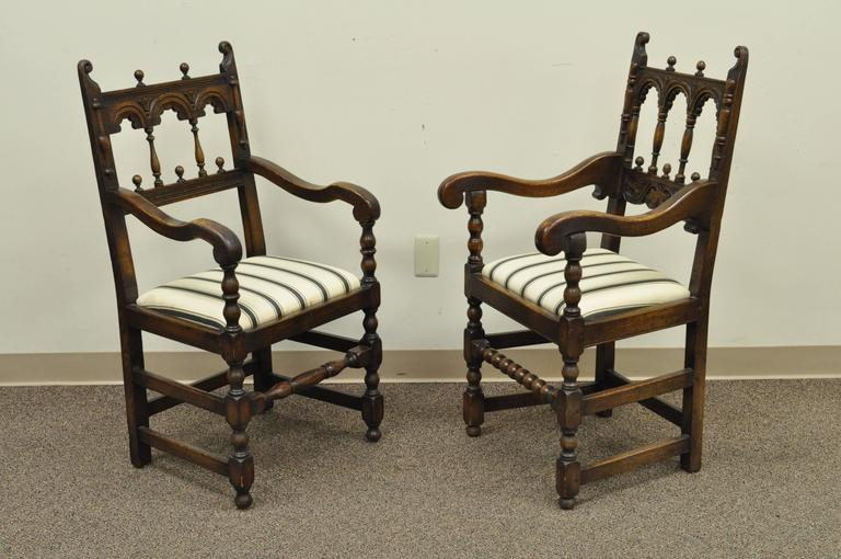 Set of Eight Solid Carved Oak 1930s Jacobean or Gothic Style Dining Room Chairs In Good Condition For Sale In Philadelphia, PA