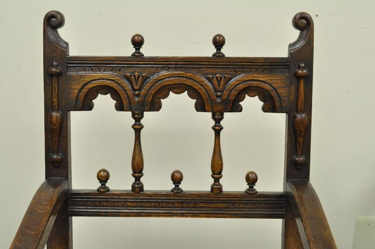 20th Century Set of Eight Solid Carved Oak 1930s Jacobean or Gothic Style Dining Room Chairs For Sale