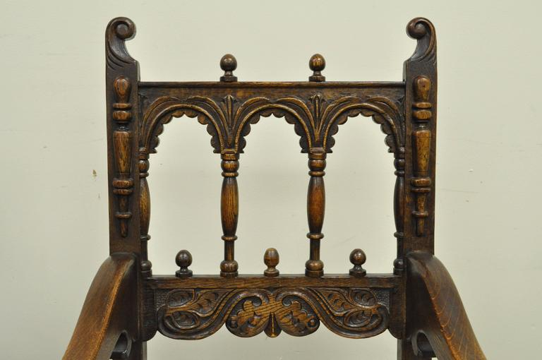 Set of Eight Solid Carved Oak 1930s Jacobean or Gothic Style Dining Room Chairs For Sale 1